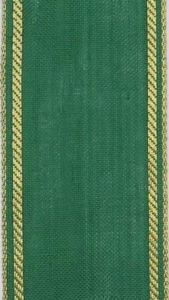 Stickband Leinen grün - Kante gold