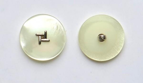 Perlmutt-Imitat Knopf mit Einlage silber