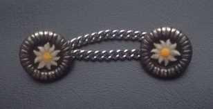 Trachtenknöpfe mit Kettchen Edelweiß metall