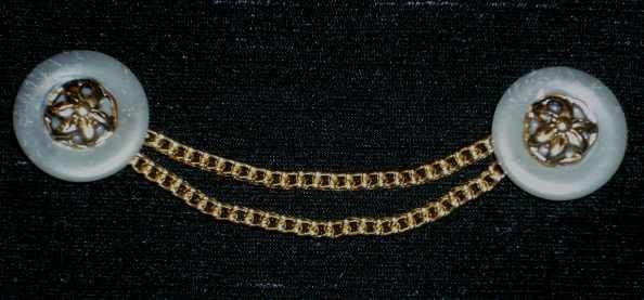 Trachtenknöpfe mit Kettchen grau-gold Nr. 4
