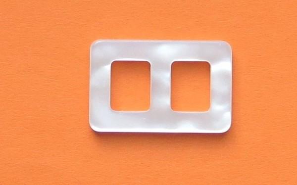 Gürtelschließe eckig 1cm Perlmutt-Imitat 2.