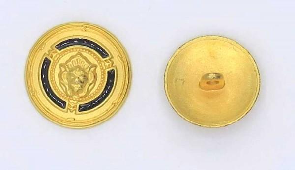 """Knopf """"Löwe"""" Metall gold-schwarz mit Steg"""