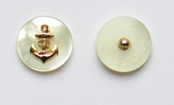 Perlmutt-Imitat Knopf mit Anker gold