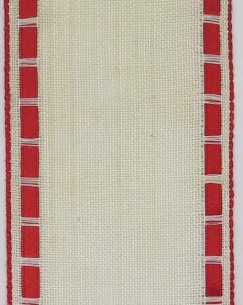 Stickband Leinen mit Satinbändchen 7cm