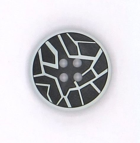 Zierknopf hellgrau-schwarz 4loch