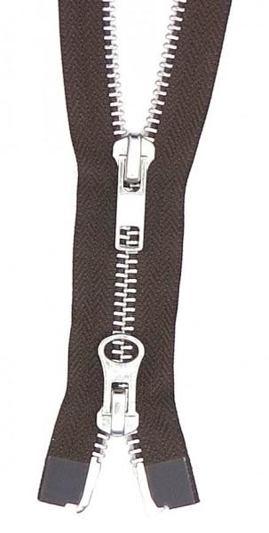 Jackenreißverschluss 2-Wege Metall 65cm braun