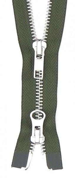 Jackenreißverschluss 2-Wege Metall 80cm oliv