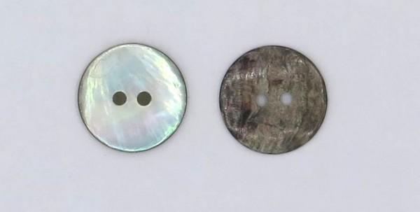 8. Perlmutt Knöpfe grau 2loch Ø 18mm 15 Stück