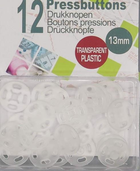 Druckknöpfe transparent Ø13mm