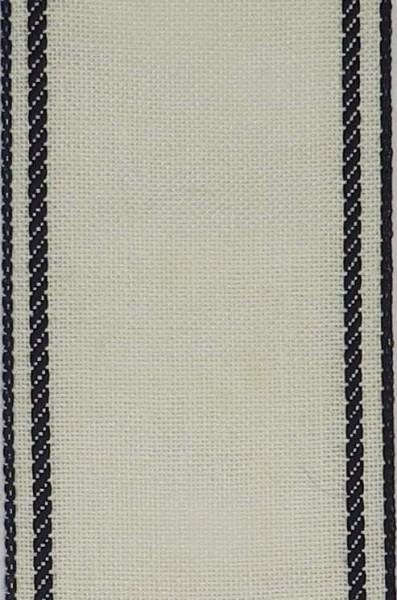 Stickband Leinen dunkelblauer Rand